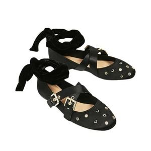 ZARA Bow Detail Gold Stud Ballerina Flats in Black and Gold Size US 7.5